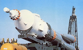Soyuz 33 on the way to the launch pad