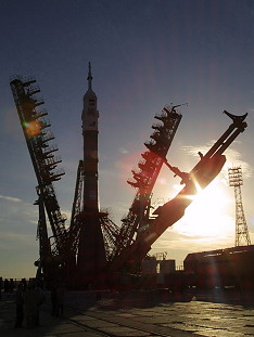 Soyuz TMA-1 on launch pad
