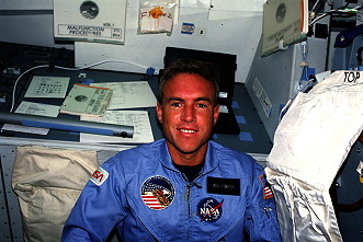 Fisher onboard Space Shuttle