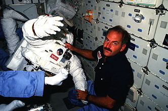 van Hoften onboard Space Shuttle