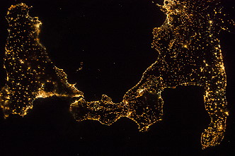 Southern Italy at night