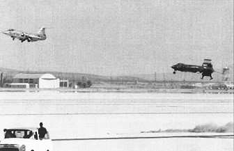Robert Rushworth in X-15 no. 3 nears touchdown at the end of the third astronaut qualification flight in the X-15 program.